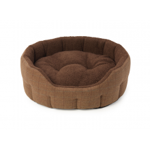 House Of Paws Brown Tweed & Faux Sheepskin Oval Bed