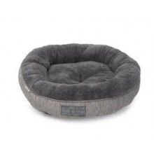 House Of Paws Grey Hessian Donut Cat Bed