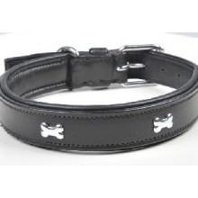HKM Leather Dog Collar - Bone Design