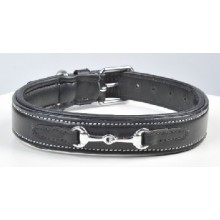 HKM Leather dog collar - Bit Design